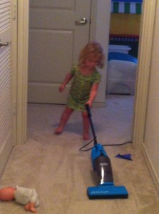 Some 3 year olds show an unusual aptitude for cleaning.  Don't kill it.